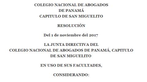 La junta directiva del Colegio Nacional de Abogados de Panamá, capitulo De San Miguelito