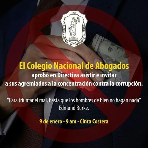 El colegio nacional de abogados aprobó en directiva asistir e invitar a sus agremiados a la concentración contra la corrupción