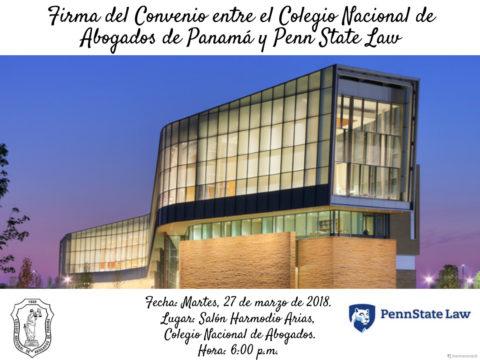 Firma del Convenio entre el CNA y Penn State Law.