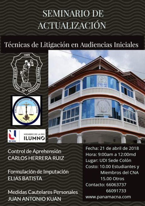 """Seminario de Actualización: """"Técnicas de Litigación en Audiencias Iniciales"""""""