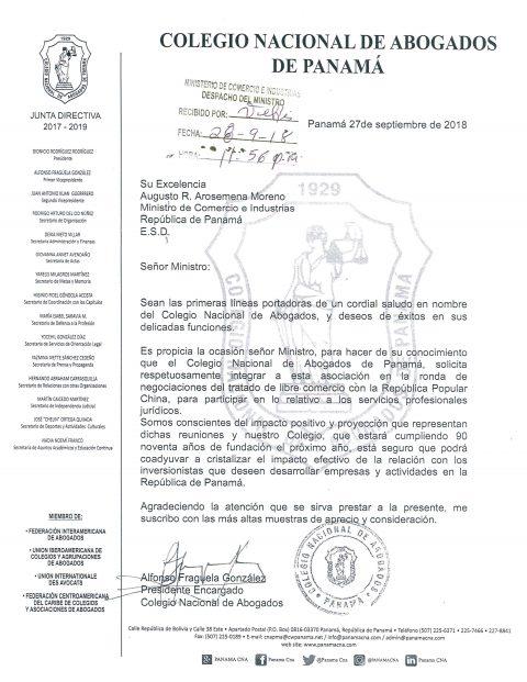 Colegio de Abogados solicita participar en Mesa de Servicios Jurídicos Profesionales en el Tratado de Libre Comercio con la República Popular China