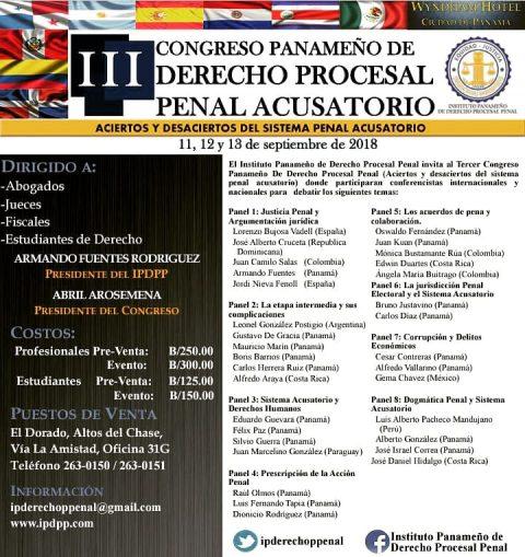 III Congreso Panameño de Derecho Procesal Penal Acusatorio