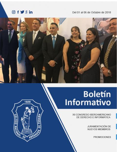 Boletín Informativo del 1 al 6  de Octubre de 2018