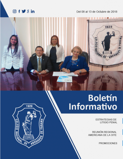 Boletín Informativo del 8 al 13 de Octubre de 2018