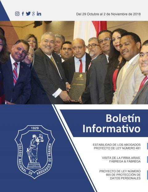 Boletín Informativo del 29 de Octubre al 2 de Noviembre de 2018