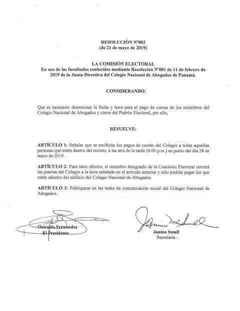 Resolución No. 002