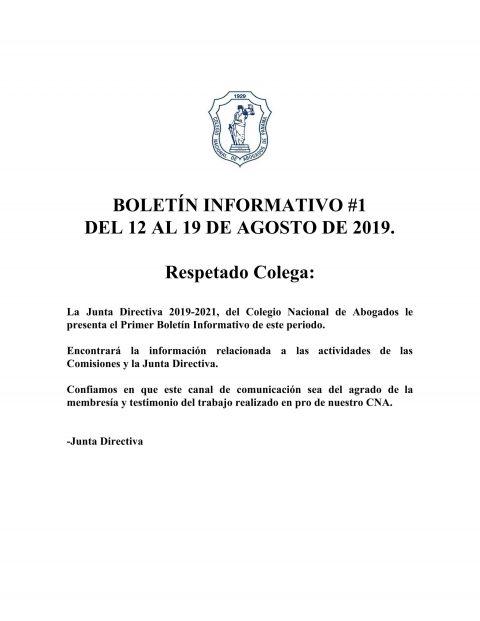 Boletín Informativo del 12 al 19 de Agosto de 2019