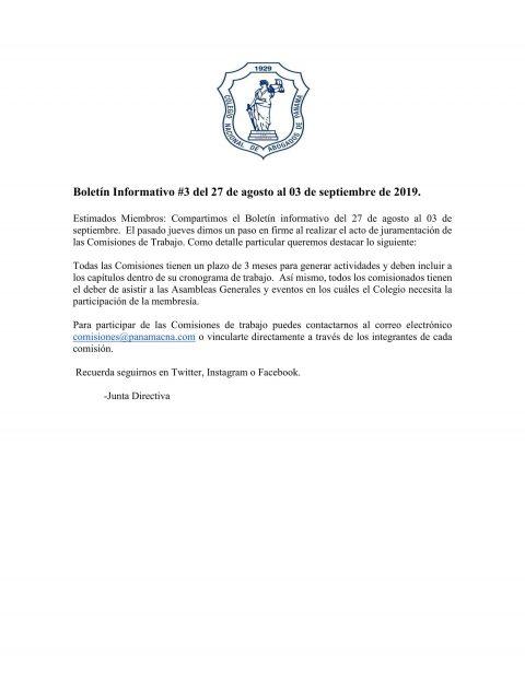 Boletín Informativo del 27 de agosto al 03 de septiembre de 2019