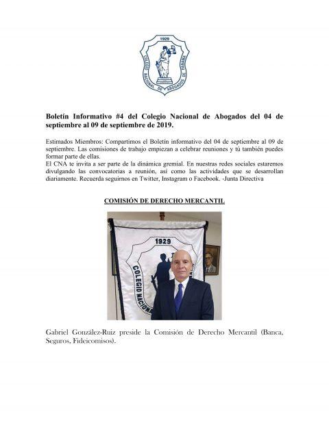 Boletín Informativo del 04 al 09 de septiembre de 2019