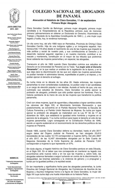 Alocución – Natalicio de Clara González, 11 de septiembre Primera Mujer Abogada