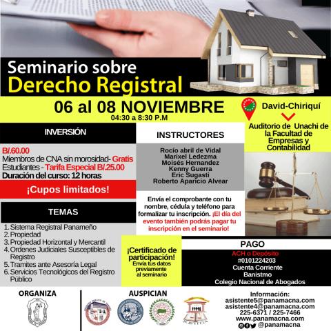 INVITACIÓN CHIRIQUÍ – Seminario sobre Derecho Registral