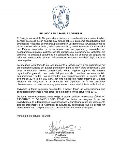Comunicado – Dr Juan Carlos Araúz / Asamblea General