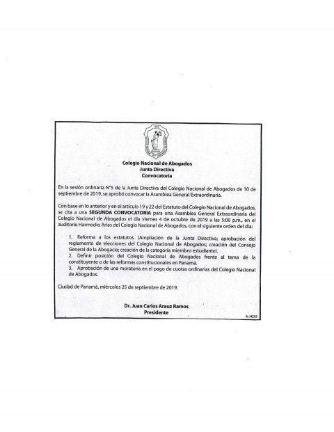 Convocatoria- Asamblea General Extraordinaria