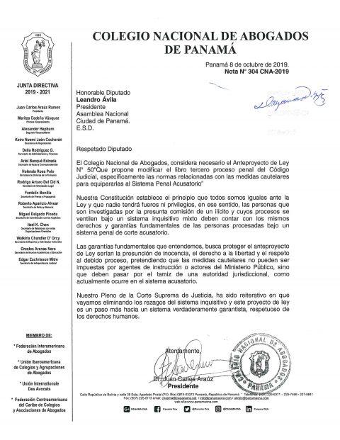 COMUNICADO- CONSIDERACIONES SOBRE ANTEPROYECTO LEY 50