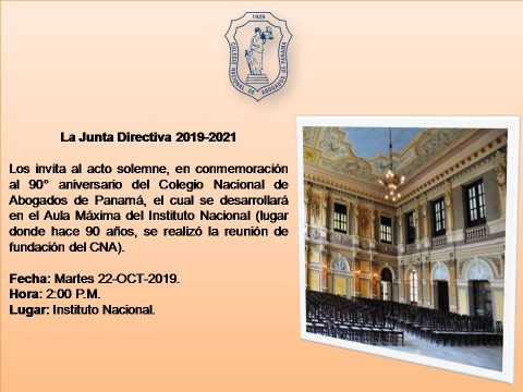 Invitación- conmemoración 90 Aniversario del Colegio Nacional de Abogados