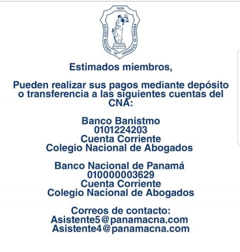 INFORMACIÓN – Cuentas Bancarias Colegio Nacional de Abogados