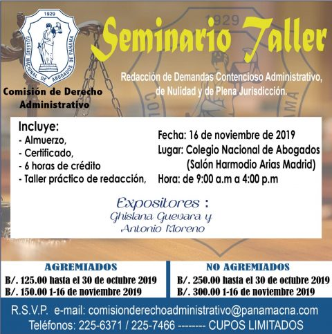 INVITACIÓN- Seminario Taller Redacción de Demandas Contencioso Administrativo de Nulidad y de Plena Jurisdicción