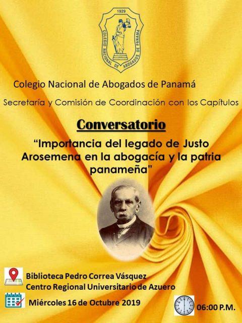 Invitación Azurero- Conversatorio Importancia del legado de Justo Arosemena en la abogacía y la patria panameña