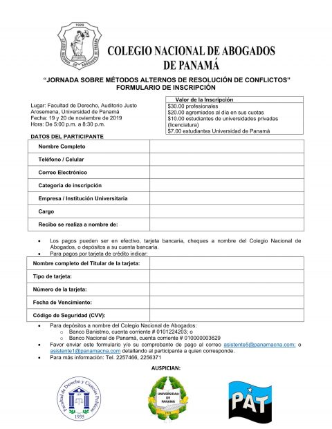 Formulario de inscripción jornada sobre métodos alternos de resolución de conflictos