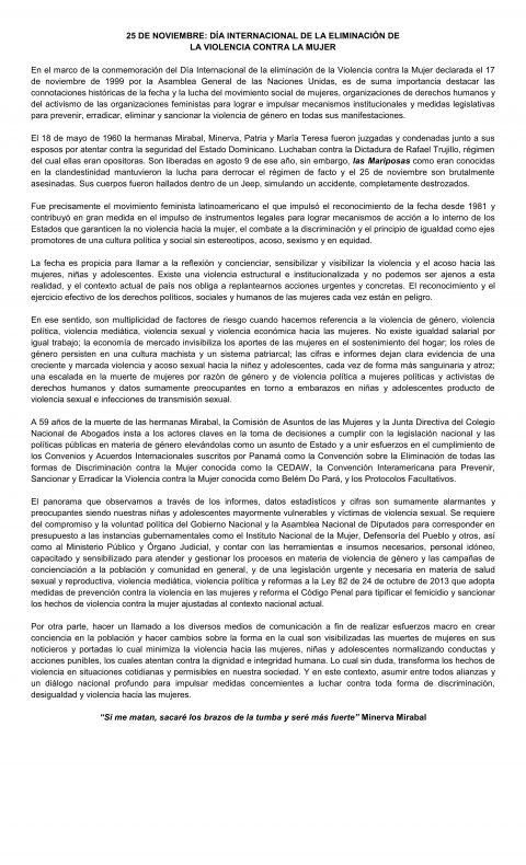 ALOCUCIÓN- 25 de Noviembre Dia Internacional de la Eliminación de la Violencia Contra la Mujer