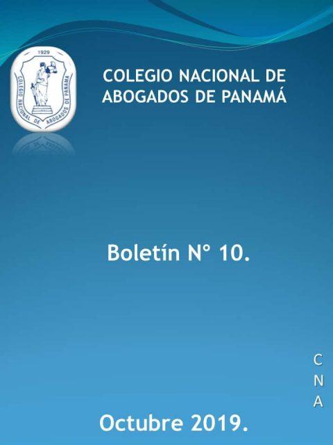 Boletín Informativo # 10 del 15 al 21 de octubre de 2019