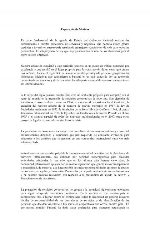 Información – Exposición de Motivos/ Proyecto de Ley 057-19
