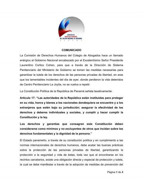 COMUNICADO – Comisión de Derechos Humanos