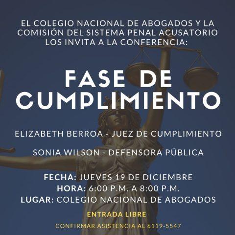 INVITACIÓN- CONFERENCIA: FASE DE CUMPLIMIENTO