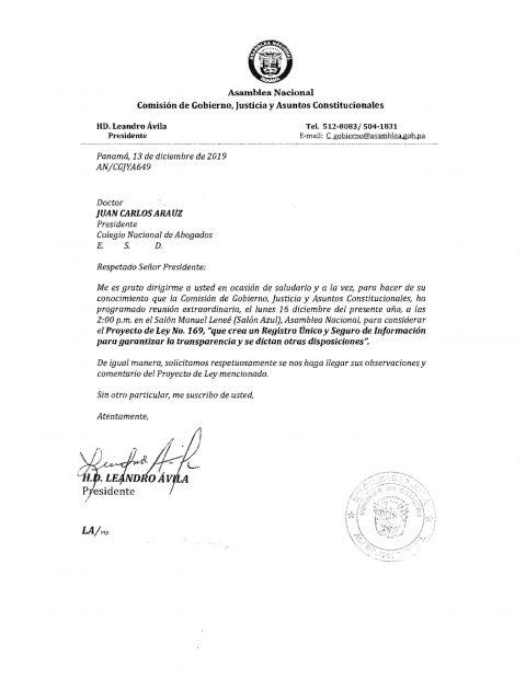 Información – Proyecto de Ley N°169