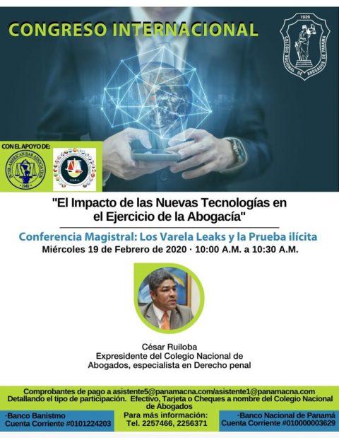 CONGRESO INTERNACIONAL: Conferencia Magistral, Los Varela Leaks y La Prueba Ilícita