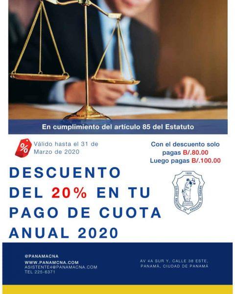 DESCUENTO DEL 20% EN CUOTA 2020