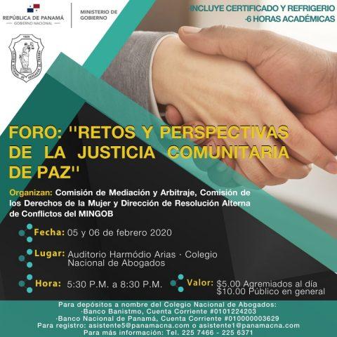 """FORO: """"RETOS Y PERSPECTIVAS DE LA JUSTICIA COMUNITARIA DE PAZ"""""""