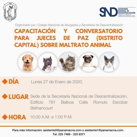 CAPACITACIÓN Y CONVERSATORIO PARA JUECES DE PAZ SOBRE MALTRATO ANIMAL