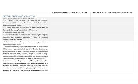 Artículos modificados Ley 23 – Cuadro de Comentarios para gremios.
