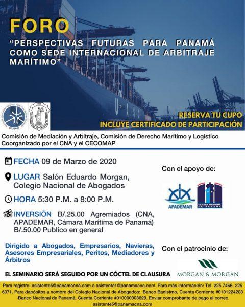 """INVITACIÓN- FORO:""""Perspectivas Futuras para Panamá como Sede Internacional de Arbitraje Marítimo"""""""