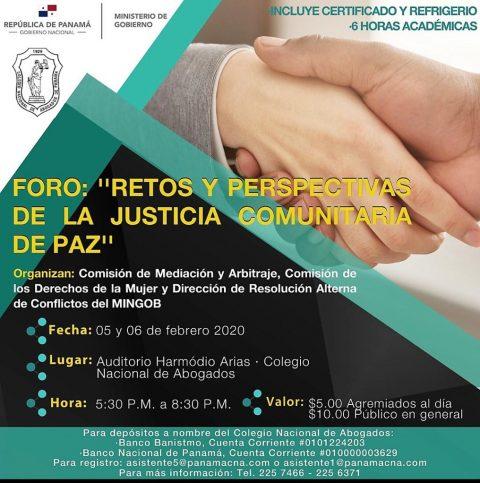 """FORO-""""Retos y Perspectivas de la Justicia Comunitaria de Paz"""""""