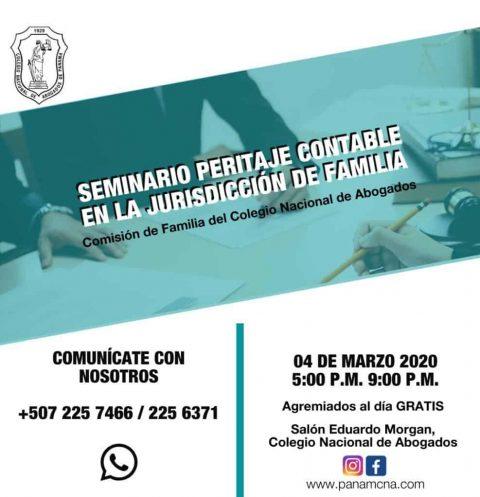 INVITACIÓN: SEMINARIO PERITAJE CONTABLE EN LA JURISDICCIÓN DE FAMILIA.