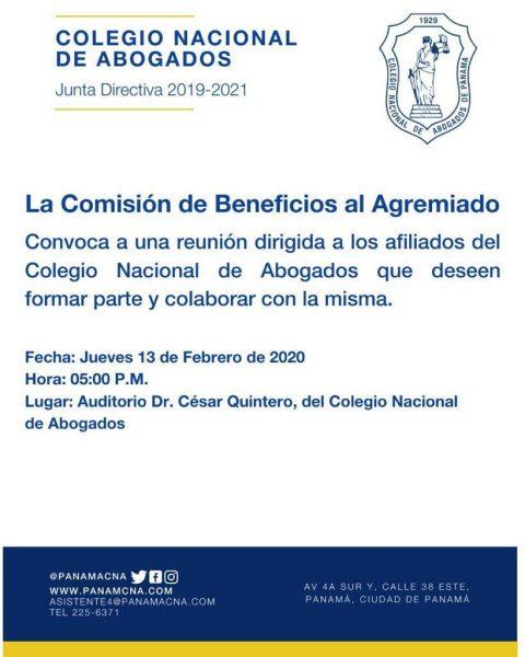 CONVOCATORIA: COMISIÓN DE BENEFICIOS AL AGREMIADO