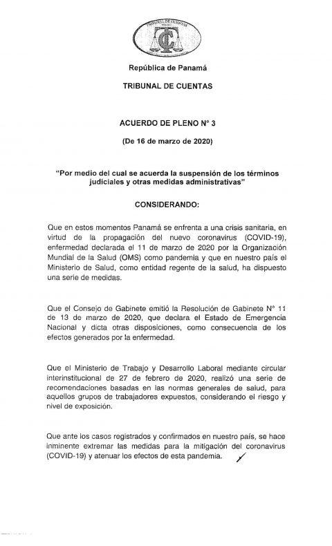 """ACUERDO DE PLENO N° 3 """"Se suspenden los Términos Judiciales y otras Medidas Administrativas""""."""