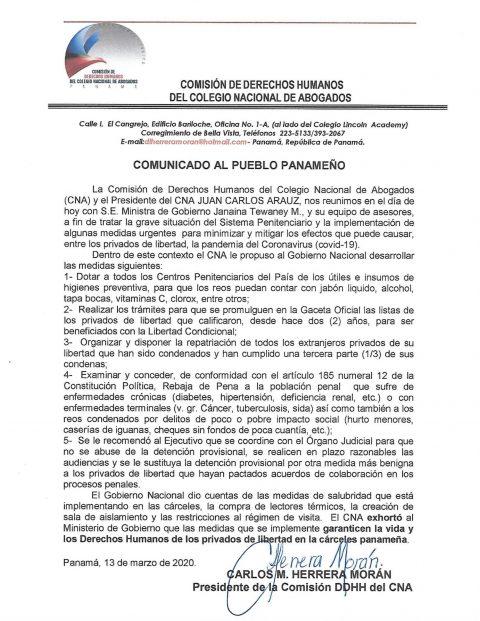 COMUNICADO: DE LA COMISIÓN DE DERECHOS HUMANOS AL PUEBLO PANAMEÑO