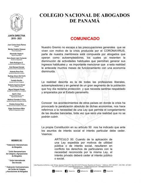 COMUNICADO: CNA PIDE LEGISLAR SOBRE SUSPENSIÓN DE OBLIGACIONES CREDITICIAS.
