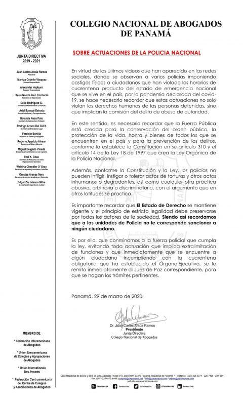 COMUNICADO: SOBRE ACTUACIONES DE LA POLICÍA NACIONAL