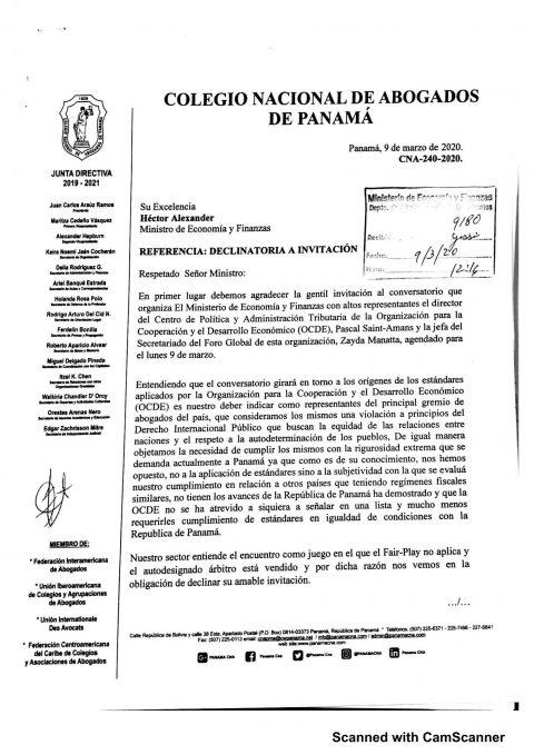 Colegio Nacional de Abogados declina invitación a encuentro con Representantes de la OCDE.