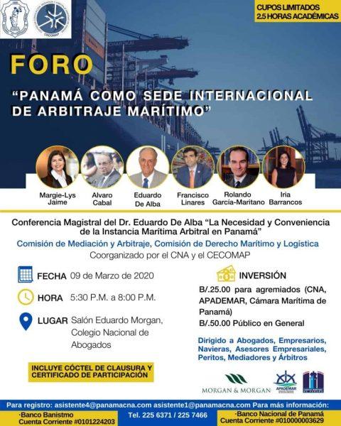 """FORO: """"PANAMÁ COMO SEDE INTERNACIONAL DE ARBITRAJE MARÍTIMO"""""""