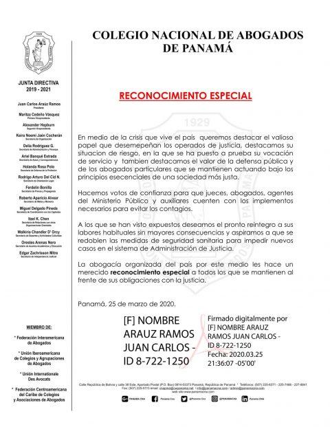 RECONOCIMIENTO A LOS OPERADORES DE JUSTICIA