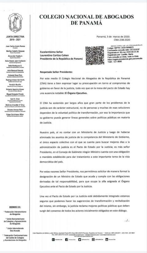 CARTA AL PRESIDENTE DE LA REPÚBLICA