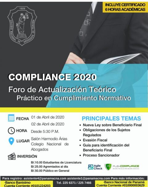 COMPLIANCE 2020: FORO DE ACTUALIZACIÓN TEÓRICO PRACTICO EN CUMPLIMIENTO NORMATIVO.