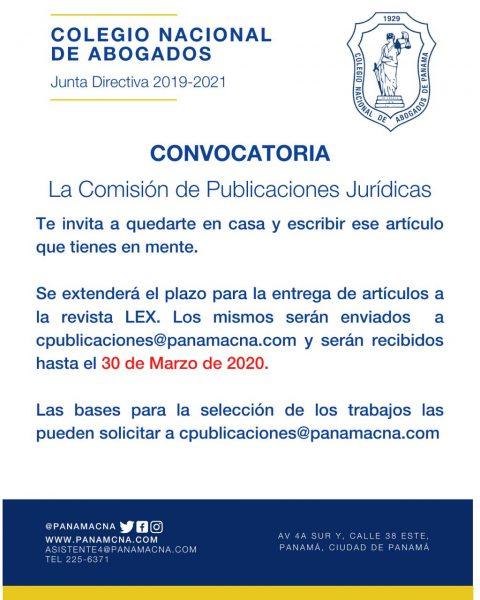 CONVOCATORIA: La Comisión de Publicaciones Jurídicas