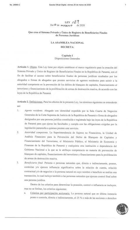 LEY 129 – Se crea el Sistema Privado y Único de Registro de Beneficiarios Finales de Personas Jurídicas.