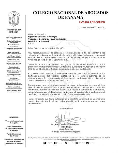 CARTA AL PROCURADOR DE LA ADMINISTRACIÓN SOBRE SALVOCONDUCTOS